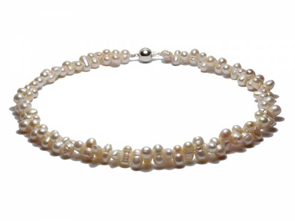 Twirling Twins - White Twinned Pearl Necklace-0
