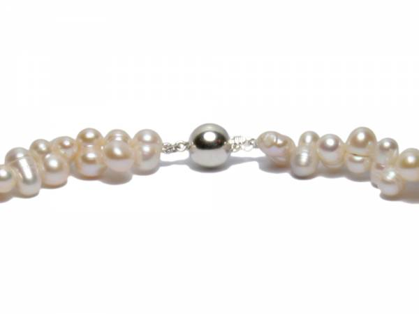 Twirling Twins - White Twinned Pearl Necklace-487