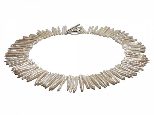 Ice Queen - Long White Biwa Pearl Necklace-0