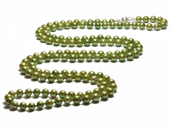 Ines - Long Green Pearl Necklace-0