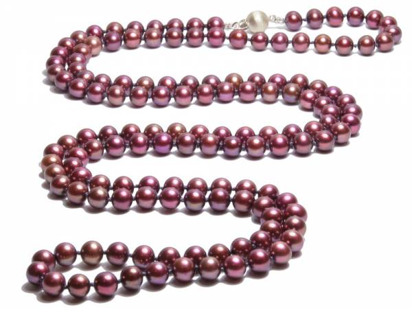Geraldine - Long Cranberry Red Pearl Necklace-0