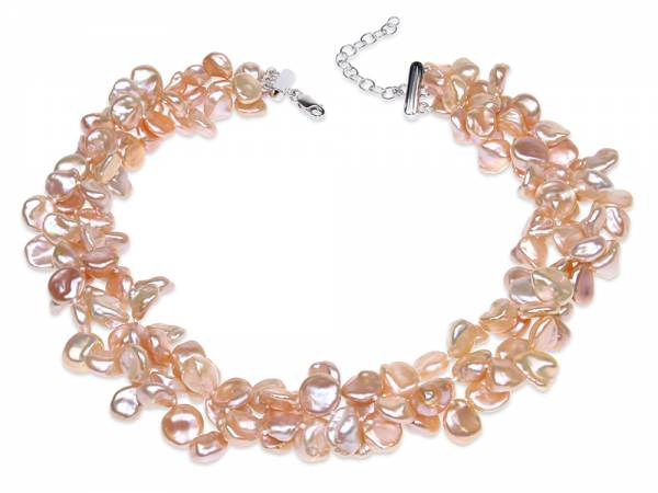 Joanna - Triple Pearl Necklace of Peach Keshi Pearls-0