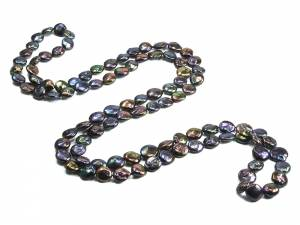 Josephine - Long Black Coin Pearl Rope Necklace-0