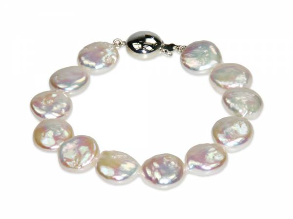 Isabelle - Iridescent White Coin Pearl Bracelet-0