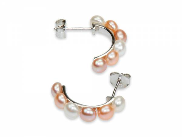 Yuna - Natural Color Button Pearl Earrings