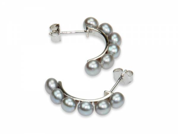 Dorota - Silver Button Pearl Earrings