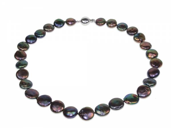 Dalida - Iridescent Black Coin Pearl Necklace-0