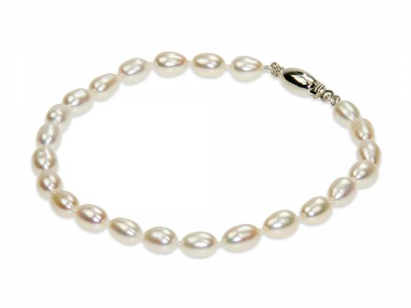 Zoe - White Oval Pearl Bracelet-0