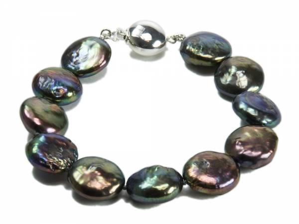 Josephine - Iridescent Black Coin Pearl Bracelet-0