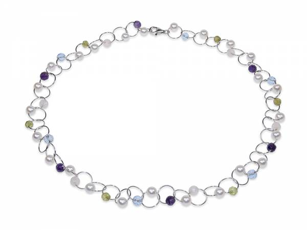 Summer - Amethyst, Peridot & Pearl Necklace-0