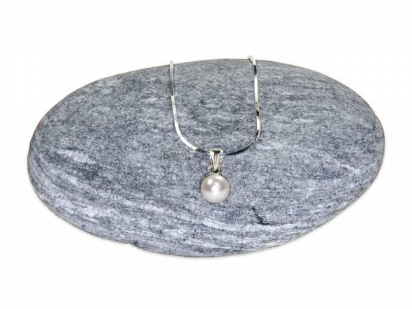 Victoria - Small White Pearl Solitaire Pendant-0