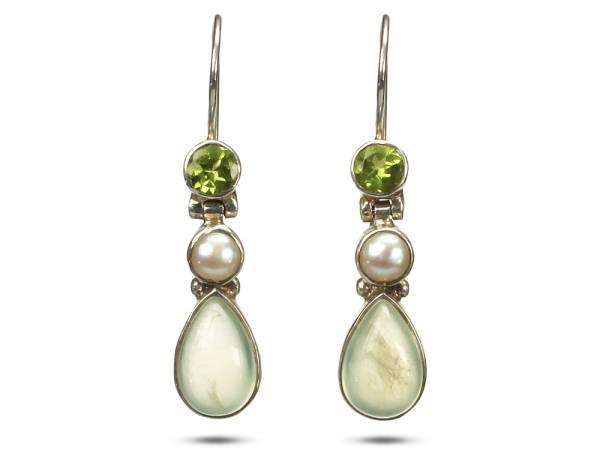 Esther - Chalcedony & Peridot Pearl Earrings