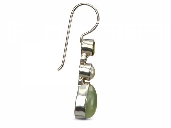 Esther - Chalcedony & Peridot Pearl Earrings-409