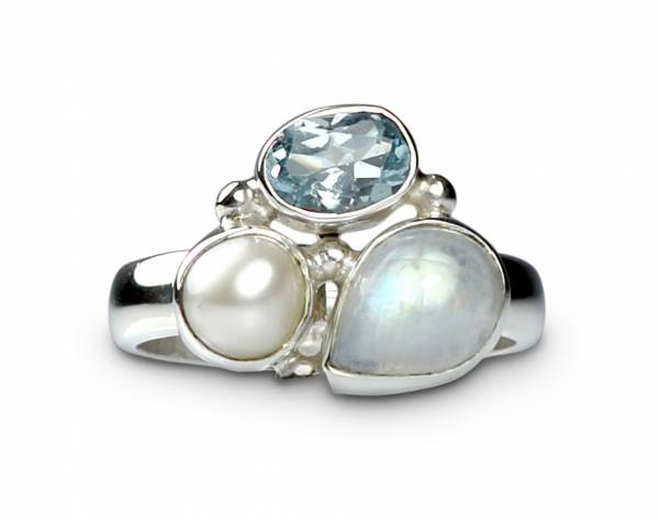 Drew - Moonstone, Topaz & Pearl Ring-465