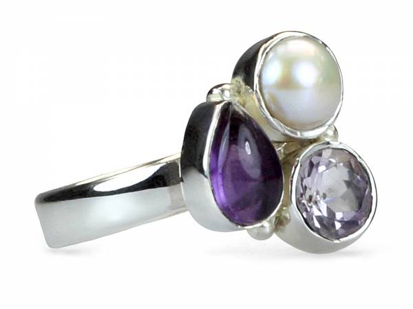 Amy - Amethyst, Rose Quartz & Pearl Ring-0