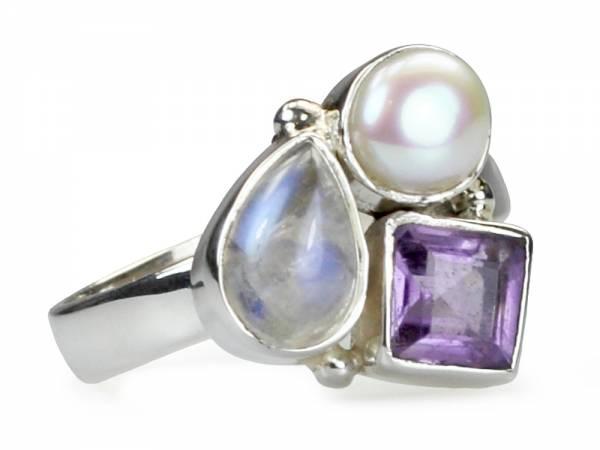 Lune - Amethyst, Moonstone & Pearl Ring-0