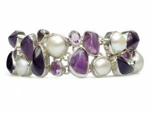 Kim - Amethyst & Pearl Bracelet-0
