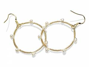 Ashanti - Gold Hoops & White Pearls-0
