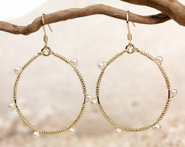 Ashanti - Gold Hoops & White Pearls-396