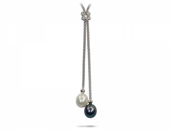 Yang & Yin - Black & White Pearl Necklace-170