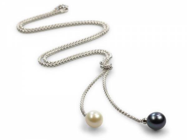 Yang & Yin - Black & White Pearl Necklace-0