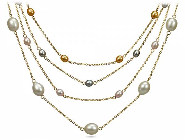 Iris - Pearl Station Necklace-416