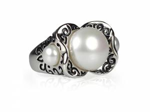 Ivy - Oxidized Silver & Pearl Ring with Three White Pearls-0