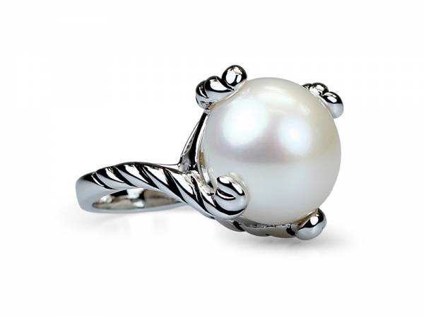 Ava - Pearl Ring with Large White Pearl-0