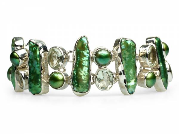 Viridia - Peridot & Green Biwa Pearl Bracelet-0