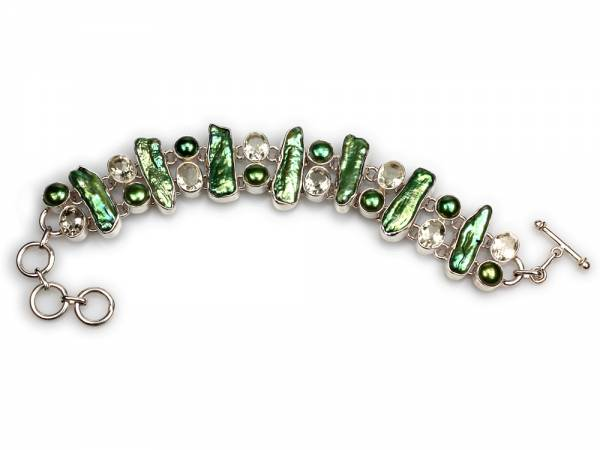 Viridia - Peridot & Green Biwa Pearl Bracelet-420