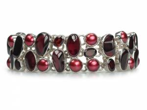 Scarlett - Garnet & Red Pearl and Silver Bracelet-0
