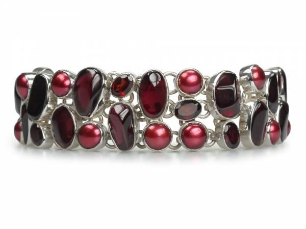 Scarlett - Garnet & Red Pearl and Silver Bracelet-0