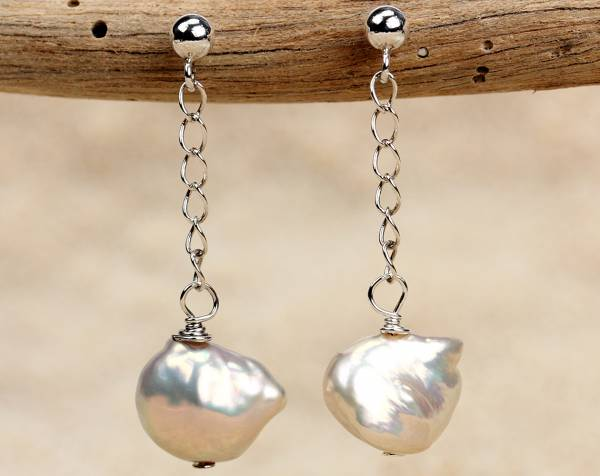 Kesh - Metallic Keshi Pearl Earrings-441