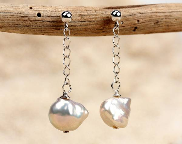 Kesh - Metallic Keshi Pearl Earrings-671