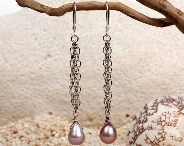 Leah - Lavender Pearls & Silver Chains-672