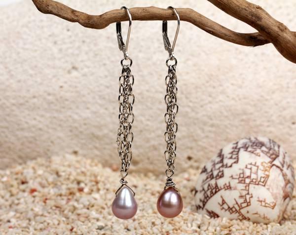 Leah - Lavender Pearls & Silver Chains-902