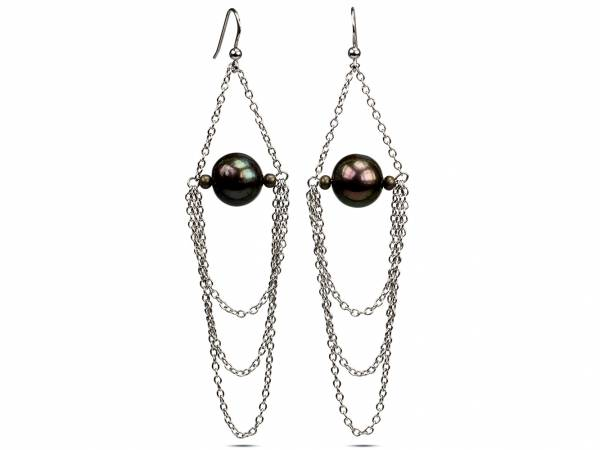 Ivana - Big Black Pearls & Silver Chains-0