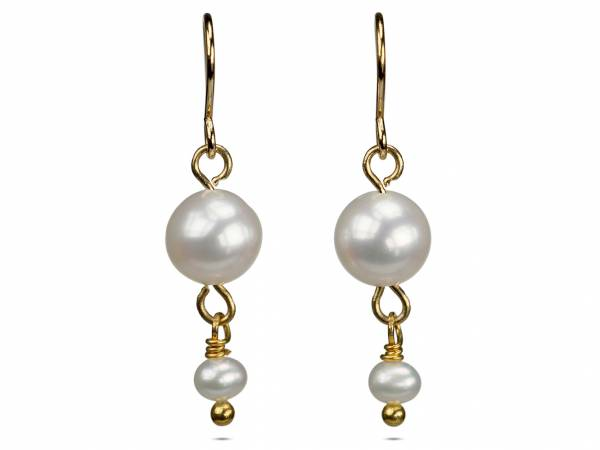 Alix in White - White Pearl Dangle Earrings