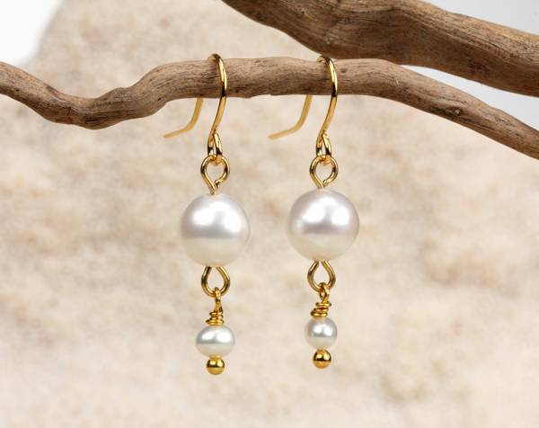 Alix in White - White Pearl Dangle Earrings-897