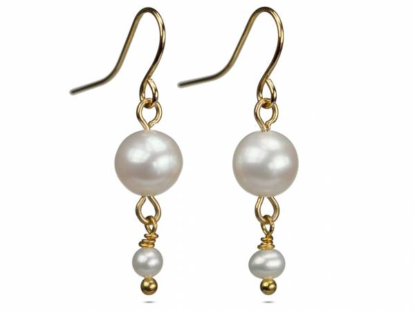 Alix in White - White Pearl Dangle Earrings-437