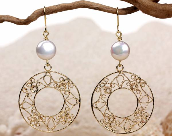 Sunny Moon - White Coin Pearls & Gold-688