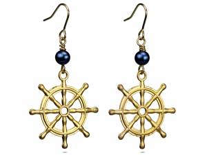 Sailing Sally - Gold Helm & Blue Pearls-0