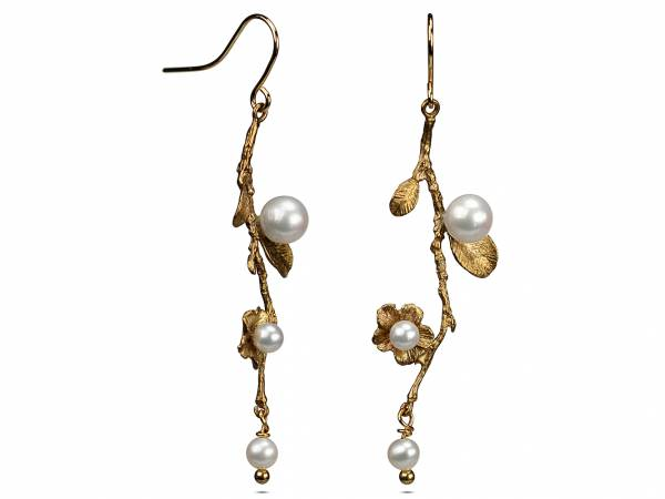 Fleur - Pearl Branch & Leaf Earrings