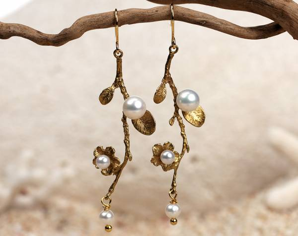 Fleur - Pearl Branch & Leaf Earrings-461