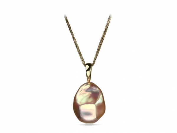Diamante d'Oro - Golden Baroque Pearl Pendant-0