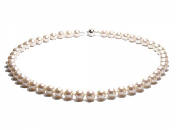 Catherine - Long Classic White Pearl Necklace-0