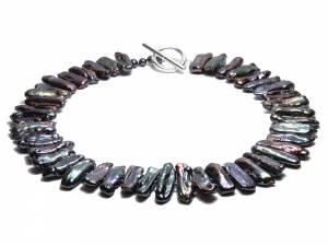 Black Queen - Black Biwa Pearl Necklace-0