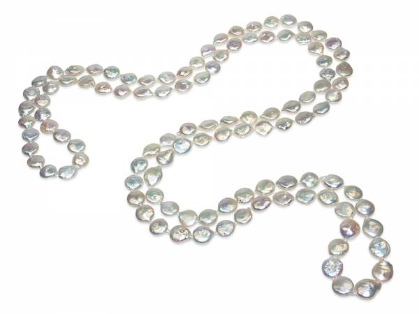 Elisa - Iridescent White Coin Pearl Rope-0