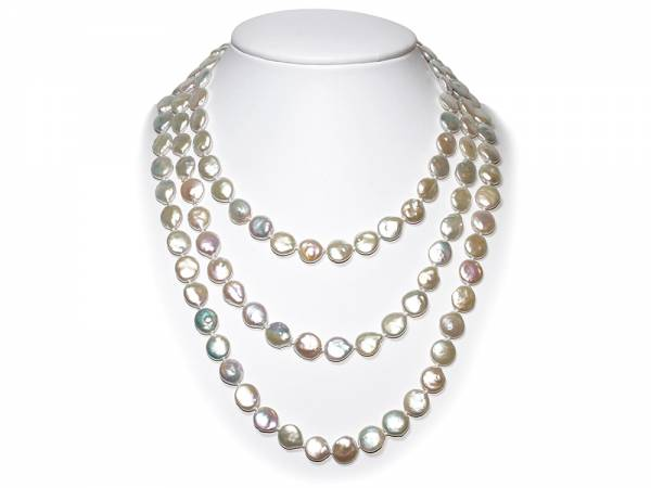 Elisa - Iridescent White Coin Pearl Rope-985