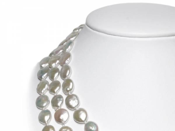 Elisa - Iridescent White Coin Pearl Rope-986